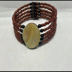 Memory Wire Bracelet Mother of Pearl Center Boho